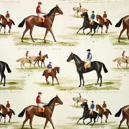 Horse racing fabric race jockey document print, Standard Cut - A horse racing fabric done as a document print! A jockey horse race fabric! We see many equestrian fabrics, but this is one of the better horse race fabrics we have seen!