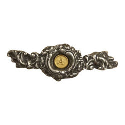 Anne at Home Hardware - Fancy Initial Pull, Antique Bronze - Made in the USA - Anne at Home customized cabinet hardware enables even the most discriminating homeowner to achieve the look of their dreams.  Because Anne at Home cabinet hardware is designed to meet your preferences, it may take up to 3-4 weeks to arrive at your door. But don't let that stop you - having customized Anne at Home cabinet knobs and pulls are well worth the wait!- Drill Centers - 3  - Available in many finishes.
