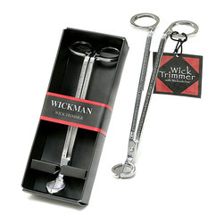 Stainless Steel Silver Wick Trimmer - Boxed for gifting, the Stainless Steel Silver Wick Trimmer serves a forgotten purpose in the home � so few people realize the necessity of keeping candle wicks short for a safer, cleaner, and more attractive burn.  This elegantly-made tool's long shaft and angled handles make it easy to trim candles' wicks so that the candle is more attractive lit and unlit.