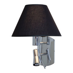 Access - Cyprus Duo Wall Sconce - Cyprus Duo Wall Sconce features a Black Shade with a Chrome finish. One 18 watt, 120 volt GU24 base LED bulb and one 3 watt LED module are included. ETL listed. 15.25 inch width x 14.25 inch height x 9 inch depth.