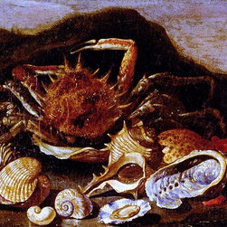"Paolo Porpora Still Life Of A Crab, Shells And Coral In A Landscape - 16"" x 24"" - 16"" x 24"" Paolo Porpora Still Life Of A Crab, Shells And Coral In A Landscape premium archival print reproduced to meet museum quality standards. Our museum quality archival prints are produced using high-precision print technology for a more accurate reproduction printed on high quality, heavyweight matte presentation paper with fade-resistant, archival inks. Our progressive business model allows us to offer works of art to you at the best wholesale pricing, significantly less than art gallery prices, affordable to all. This line of artwork is produced with extra white border space (if you choose to have it framed, for your framer to work with to frame properly or utilize a larger mat and/or frame).  We present a comprehensive collection of exceptional art reproductions byPaolo Porpora."