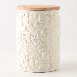 Verdant Canister - The filigree leaves are super romantic without being too frilly.