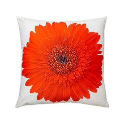 Lava - Red Gerbera 16X16 Decorative Pillow (Indoor/Outdoor) - 100% polyester cover and fill.  Suitable for use indoors or out.  Made in USA.  Spot Clean only