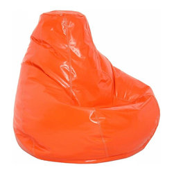 Elite Products - Wetlook Extra Large Bean Bag w Zipper Pulls i - This blaze orange extra large wetlook bean bag is easy to refill and store. With a double zippered bottom for extra security, this bean bag is recommended for all ages. * Long lasting and durable. Pear shape body for add comfort. Double stitched with double overlap folded seam. Double zippered bottom for added security. Childproof safety lock zippers (pulls have been removed). Can easily be refilled by an adult. Easy to clean. Lightweight and convenient to move and store. Recommended seating for all ages. Warranty: One year limited. Made from PVC vinyl and polystyrene bead. Made in USA. No assembly required. 41 in. L x 39 in. W x 33 in. H (12 lbs.)