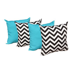 Land of Pillows - Chevron Black and Fresco Atlantis Turquoise Blue Outdoor Throw Pillows - 4 Pk, 1 - Fabric Designer - Swavelle Mill Creek