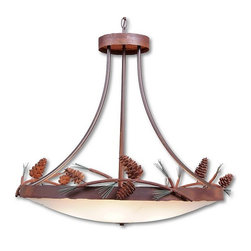 Avalanche-Ranch - Pine Cone Art: Crestline Chandelier Large - Rustic Chandeliers with Pine Cone artwork - Takes (6) 60W Medium bulb(s)