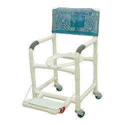 "MJM International - Standard Deluxe Shower Chair with Footrest with Optional Accessories - Features: -Manufactured of healthcare grade PVC pipe and fittings. -Contoured frame, no sharp edges, to avoid skin breaks during transfers. -Reinforced at all stress related areas. -Deluxe elongated open front seat ideal for both male and female. -2 lock and 2 non lock 3"" casters for easy maneuverability and transferring. -Anti-slip safety hand grips. -Rust proof casters. Specifications: -Internal Width: 18"". -External Width: 22"". -Threaded Stem Casters: 3"" x 1 1/4"". -Seat Height: 21"". -Weight Capacity: 300 lbs. -Overall Dimensions: 40"" H x 22"" W x 18"" D."