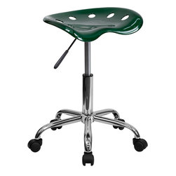Flash Furniture - Flash Furniture Vibrant Green Tractor Seat and Chrome Stool - LF-214A-GREEN-GG - On the market for a stool but want to add a little color to your home or office? This sleek, modern stool conforms to several areas in the home or office. The molded tractor seat offers great comfort. The small frame design of this backless stool makes it easy to maneuver around tight spaces with ease. This stool can be used for a variety of reasons other than just at a desk and is offered at a very affordable price. [LF-214A-GREEN-GG]