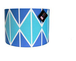 """Mood Design Studio - Modern Lamp Shade - Striking Diamonds - Blue and White, 12"""" - Mood Design Studio brings bold, modern, and colorful accessories into your home. All of our designs begin on paper by sketching ideas for fabric collections. We research color trends and mix in inspiration from the fashion runways as well as from our favorite mid century design books. Our fabrics are printed in the USA using eco friendly dyes and printing methods."""