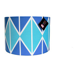 "Mood Design Studio - Modern Lamp Shade - Striking Diamonds - Blue and White, 12"" - Mood Design Studio brings bold, modern, and colorful accessories into your home. All of our designs begin on paper by sketching ideas for fabric collections. We research color trends and mix in inspiration from the fashion runways as well as from our favorite mid century design books. Our fabrics are printed in the USA using eco friendly dyes and printing methods."