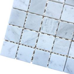 All Marble Tiles - Bianco Carrara 2x2 Honed Marble Square Mosaic Tile - Finish: Honed