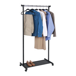 Richards Homewares - Richards Homewares Black and Grey Rolling Garment Rack and Fabric Shelf - Add clothing storage in any room with this black and grey garment rack from Richards Homewares. Featuring a fabric shelf for folded clothes or shoes,this rack is perfect for a guest bedroom or any small space in need of extra clothing storage.