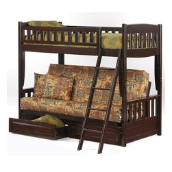 Contemporary Kids Bunk Beds - The deep chocolate finish on this solid Night & Day bunk bed, will elevate the look of any bedroom. If you need to make the most of your available space, this model combines the best of both worlds. Featuring two full-size twin beds when the futon is lowered, it can quickly convert to a sofa when the second bed isn't needed. Also, you'll be miles away from inferior bunk bed models, with its quality construction from wood grown solely on a plantation.