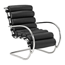Wave Chair in Black - Slick polished steel and cushiony classic black leather team up in a lounge chair made for maximum comfort in high fashion. It's right at home in your sun room, but we're sure you wouldn't mind taking it into the home office with you.