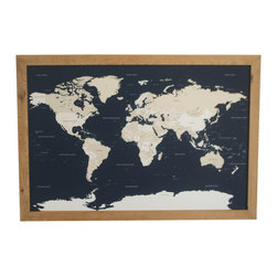 "World Push Pin Travel Map in Handcrafted Wood Frame 38.5"" X 26.5"" - Our original, handcrafted World Push Pin Travel Map for reminiscing on old travels and dreaming up your next adventure. A beautiful and meaningful piece for your home, office, or studio."