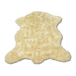 "Walk on Me - Classic Sheepskin Ivory Pelt - Faux Fur Rug (28""x43"") - Classic design - gloriously thick; beautifully soft; visually comforting - dreamy in the bedroom; gorgeous in a bathroom - warm ivory color - machine washable, hypoallergenic, non-slip - long pile - Made in France"