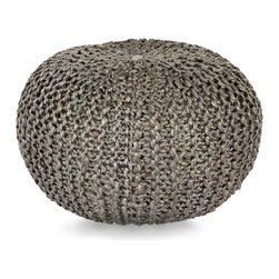 Crochet Jute Pouf - Grey - The subtle sheen taken on by twisted jute shines through a warm medium dove tint in the Grey Crochet Jute Pouf, a round stool or lounging piece that looks at home with heirloom wicker furnishings or with more transitional choices of leather, canvas, and even velvet.  Contrasting textures become integral to the sophistication of your look with this fiber beauty.
