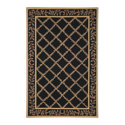 """Safavieh - Chelsea Black/Yellow Area Rug HK230D - 2'6"""" x 6' - 100% pure virgin wool pile, hand-hooked to a durable cotton backing. American Country and turn-of-the-century European designs. This collection is handmade in China exclusively for Safavieh."""