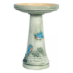 """Burley Clay - Bluebird Birdbath w/ Glazed Interior Pedestal Set by Burley Clay Wild Bird Bath - Designed to bring awareness to the endangered Bluebird, this birdbath is hand painted, artist signed and dated, and hand rubbed for an aged finish. Dimensions:16.75""""d 20.5""""hSome assembly may be required. Please see product details."""