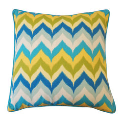 Sunny Day Pillow - With a painterly herringbone pattern, contrasting piping, and a palette of sky blues and sunny yellows, our Sunny Day Pillow brings warm weather to your interiors! Also available