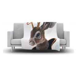 """Kess InHouse - Graham Curran """"Lucid Jack"""" Brown Rabbit Fleece Blanket (60"""" x 50"""") - Now you can be warm AND cool, which isn't possible with a snuggie. This completely custom and one-of-a-kind Kess InHouse Fleece Throw Blanket is the perfect accent to your couch! This fleece will add so much flare draped on your sofa or draped on you. Also this fleece actually loves being washed, as it's machine washable with no image fading."""