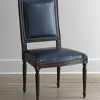 "Massoud - Massoud ""Marlin Blue"" Leather Side Chair - A carved frame, leather upholstery, and nailhead trim take this chair from simple to simply stunning. Birch frame. Leather upholstery. Finished back. 23""W x 23""D x 39""T. Made in the USA. Boxed weight, approximately 55 lbs. Please note that this...."