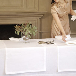 Libeco - Frascati Table Runner, choice of five colors - This beautiful two-tone linen collection is made of a very supple, reversible twill quality. Frascati table cloths feature an 8 cm mitered border and the napkins and table runners have a 3 cm mitered border.  Available in Fig, Flax, Gold, Grey and White.