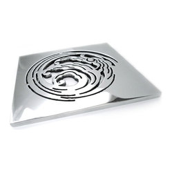 Designer Drains - Nami Shower Drain Plate - An appropriate addition to your shower stall, this striking drain evokes the look of wave crests. Water runoff falls through the curl-shaped openings, as well as through the other eye-catching cutouts. Drain sizes vary. Please measure carefully before ordering.