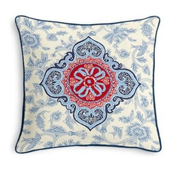 Blue & Red Ribbon-Embellished Medallion Custom Throw Pillow - Black and white photos, Louis XIV chairs, crown molding: classic is always classy. So it is with this long-time decorator's favorite: the Corded Throw Pillow. We love it in this intricate sky blue and ruby red ribbon-embellished medallion. It's tradition with a twist.