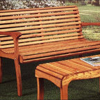 """Fifthroom - 48"""" Oak Garden Bench - Whether you're assembling the ultimate outdoor furniture group, or you simply want one fantastic bench for your porch, yard, or patio, this Bench is the perfect choice.  Built from genuine Oak, with a rich, resplendent finish, it's designed to endure years of heavy use � and heavy weather.  So, if you're building a collection, it's the start of something beautiful; if your buying only one piece, it's the living end."""