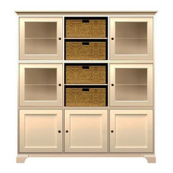 Howard Miller Custom - Holly Cabinet w 4 Doors in Antique Vanilla - This cabinet is finished in Antique Vanilla on select Hardwoods and Veneers, with Antique Brass hardware. 4 doors with plain Glass and 3 inset panel doors. 9 adjustable interior shelves and 4 large woven baskets. Cove profile top and cove profile base. Hardware: Antique Brass knobs on doors. Features soft-close doors and metal shelf clips. Simple assembly required. 73 1/2 in. W x 17 in. D x 78 1/2 in. H