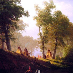 "Albert Bierstadt The Wolf River, Kansas - 16"" x 20"" Premium Archival Print - 16"" x 20"" Albert Bierstadt The Wolf River, Kansas premium archival print reproduced to meet museum quality standards. Our museum quality archival prints are produced using high-precision print technology for a more accurate reproduction printed on high quality, heavyweight matte presentation paper with fade-resistant, archival inks. Our progressive business model allows us to offer works of art to you at the best wholesale pricing, significantly less than art gallery prices, affordable to all. This line of artwork is produced with extra white border space (if you choose to have it framed, for your framer to work with to frame properly or utilize a larger mat and/or frame).  We present a comprehensive collection of exceptional art reproductions byAlbert Bierstadt."