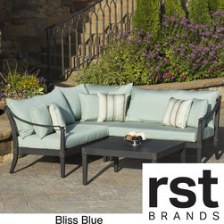 RST Brands - Astoria Aluminum 4-piece Outdoor Sectional and Conversation Table Set with Cushi - This outdoor sectional is designed with comfort,quality and flexibility in mind. Keep the pieces arranged in an L-shaped sectional,or remove individual components for a personalized setting.