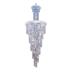 """PWG Lighting / Lighting By Pecaso - Adrienne 22-Light 22"""" Crystal Chandelier 1530SR22C-EC - Offering elegant and timeless sophistication, the Adrienne Collection features stunning and exquisitely designed Crystal Chandeliers. Placing the large pieces in a multi-storied foyer and seen from below or outside creates an utterly, dazzling speckle of light."""