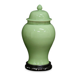 China Furniture and Arts - Celadon Porcelain Ginger Jar - The traditional ginger jar takes on a fresh look with a hand-glazed celadon green finish. Originally popular during the Qing dynasty to hold spices, the ginger jar it is now perfect to be used as a centerpiece or decorative accent. Matching wooden base sold separately.
