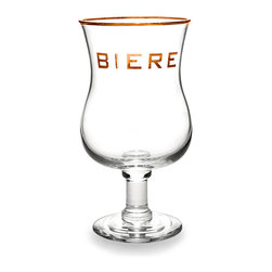 'Biere' Tulip Glass With Gold Rim - Refined yet ample, the Biere Tulip Glass is a piece of stemware that has a more complex, elegant profile than a tumbler but provides the same sense of stability and festive welcome on the table. Rimmed and lettered in gold, this glass is an essential for serving certain aromatic ales and it advertises your table as a place for savoring such drinks.