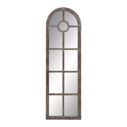 Benzara - Wood Arch Mirror Brown 23in. Wide - WOOD ARCH MIRROR is an excellent anytime low priced wall decor upgrade option that is high in modern age decor fashion. It is designed in shape of arch door.
