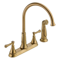 """Delta - Cassidy Kitchen Faucet With Side Spray, Champagne Bronze - Delta 2497LF-CZ Cassidy two handle Kitchen Faucet with Side Spray (Champagne Bronze). The Delta 2497LF-CZ is part of the Cassidy Series. This two handle kitchen faucet comes with a convenient matching side-spray for getting the water exactly where you need it. Its two lever handles allow for precise volume and temperature control, and it has an 8-21/32"""" long, 13-15/32"""" tall spout that has a full 360-degree swing radius. This faucet comes with 1/2""""-14 NPSM threaded male inlet shanks, and a 1.8 GPM flow rate. This model comes in an elegant, Champagne Bronze finish."""