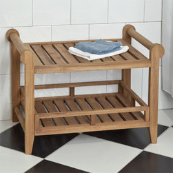 Teak Rectangular Shower Seat - This Teak Wood Rectangular Shower Stool will add a wonderful, spa-like feel to your walk-in shower and give you a bit of additional storage space with its lower shelf. This teak shower seat features handles on each side making it easier to move, if desired.