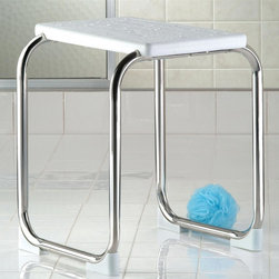 Taymor - Shower Bench in Chrome Finish - Will not ruse or corrode. Meets all ADA requirements. Assembly required. Wipe clean with soft damp cloth. Do not use any harsh abrasives or chemicals. Weight capacity: 300 lbs.. Made from stainless steel and acrylic. White finish. 17 in. L x 16.5 in. W x 19 in. H (2 lbs.)Sturdy shower bench for any showers, including walk-ins. This shower bench can also be used at the vanity or boudoir. Can be used in all showers.