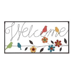 """BZBZ55471 - Wall Sign with Modern Or Casual Style and Simple Frame - Wall Sign with Modern Or Casual Style and Simple Frame. Welcome your guests with style with this chic wall sign! Elegant and attractive, this metal wall sign is sure to add a touch of finesse to your living space settings. It comes with the following dimensions: 32"""" W x 1"""" D x 16"""" H."""