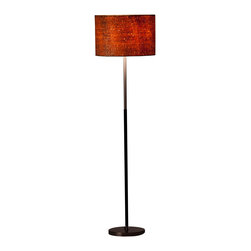 Ziqi Home - Jacob Floor Lamp - You have different looks for night and day; why shouldn't your lamp? By day, this elegant floor lamp's shade has a natural look. But after dark is when it really shines, with a dazzlingly shimmering effect that will add a dramatic touch to any room.