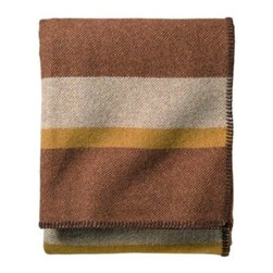 Eco-Wise Wool Plaid/Stripe Blanket, Copper Stripe - Maybe you're more of a traditionalist when it comes to decorating for fall. This gorgeous wool throw is rich in color and stately design.
