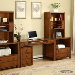 Wynwood - Wynwood Taylor 6pc Printer/File Cabinet with Tall Laptop Storage Hutch Unit in W - A seamless combination of utility and style makes this printer/file cabinet and the tall laptop storage hutch a must-have solution to providing storage and space options. With the addition of the cabinet, there is no need to sacrifice looks for function. It features an open compartment, afile drawer equipped with metalfiling hardwares to accommodate letter or legal sizedhanging filesand a cable access. The laptop storage hutch offers two open compartments with cable access, two utility cabinets where the right cabinet has four jack power supply, the open cableaccessible compartment in the middle has three shelves and the middle shelf is removable. With the addition of the 56 desk with a drawer pedestal underneath, this is used as a connector for another set of printer cabinet and hutch. An alluring design and brilliant style combine in the neat package of this Taylor 6pc Printer/File Cabinet with Tall Laptop Storage Hutch Unitby Wynwood Furnitures.