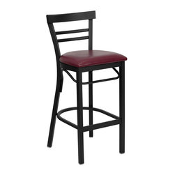 Flash Furniture - Flash Furniture Hercules Series Black Back Metal Bar Stool in Burgundy - Flash Furniture - Bar Stools - XUDG6R9BLADBARBURVGG - This heavy duty commercial metal bar stool is ideal for restaurants, hotels, bars, pool halls, lounges, and in the home. The lightweight design of the stool makes it easy to move around. The tubular foot rest not only supports your feet, but acts as an additional reinforcement that helps secure the legs. This stool will keep you comfortable with the easy to clean vinyl upholstered seat. You will not regret the purchase of this bar stool that is sure to complement any environment to fill the void in your decor. [XU-DG6R9BLAD-BAR-BURV-GG]