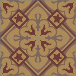 Granada Tile - Tile Sample Chantilly 902 A - The Chantilly cement tile design is playful yet strong, with a girding of interconnecting diagonal lines.