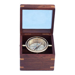 """Handcrafted Model Ships - Brass Lifeboat Compass 5"""" - Nautical Lifeboat Compass - The Hampton Nautical Solid Brass Lifeboat Compass with Rosewood Box 5"""" is a handsome reproduction of an antique brass gimbaled compass in a beautiful brass-inlaid hardwood box. The 2 3/4-inch (7 cm) diameter compass is fully gimbaled with a solid brass gimbal set. The lid of the hardwood case is inset with beveled glass so the compass can be viewed with the lid closed, making this a beautiful addition to a nautical collection or executive's desk. The gimbaled compass is protected by a second glass cover. The top features a beveled clear glass so the compass can be used while the box is closed."""