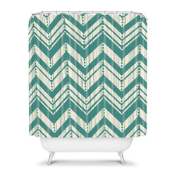 DENY Designs - Deny Designs Heather Dutton Weathered Chevron Shower Curtain - 13747-SHOCUR - Shop for Shower Curtains from Hayneedle.com! A popular chevron design with a distressed look makes the Deny Designs Heather Dutton Weathered Chevron Shower Curtain a natural choice for updating your bath. Fresh color and great style this shower curtain is an original Heather Dutton design that makes a style statement.About DENY DesignsDenver Colorado based DENY Designs is a modern home furnishings company that believes in doing things differently. DENY encourages customers to make a personal statement with personal images or by selecting from the extensive gallery. The coolest part is that each purchase gives the super talented artists part of the proceeds. That allows DENY to support art communities all over the world while also spreading the creative love! Each DENY piece is custom created as it's ordered instead of being held in a warehouse. A dye printing process is used to ensure colorfastness and durability that make these true heirloom pieces. From custom furniture pieces to textiles everything made is unique and distinctively DENY.