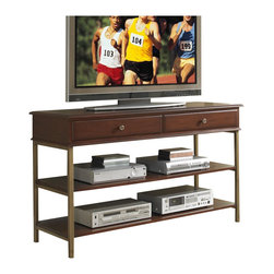 Home Styles - Home Styles St. Ives Media TV Stand in Cinnamon Cherry Finish - Home Styles - TV Stands - 505106 - St Ives Media TV Stand is constructed of poplar solids with cherry and birch veneers in a Cinnamon Cherry Finish with iron metal frame. Features include two storage drawers two fixed shelves and brushed antiqued brass hardware and metalwork. Size: 54w 18d 31.5h