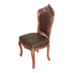 MBW Furniture - Mahogany Carved Upholstered High Back Faux Leather Occasional Side Chair - Mahogany ConstructionHandcrafted, not massed produced Faux Leather Very ComfortableBeautiful Wood CarvingsCabriole Legs Nail HeadsCarved KneesTop Quality Tight JointsStrong and SturdyThis is a beautiful mahogany upholstered high back dining side chair. The seat and back is made of high quality faux leather in brown and is upholstered with attractive nail heads.It features gentle curved legs with scroll feet as well as fabulous carved motifs on the top rail. This chair has many elements of the French Provencal design, therefore it would work well with High Style or French Country decor but is certainly not limited to those styles. This chair is a showroom model and may have some minor imperfections including a glossy spot on its seat which could be repaired if necessary and scratches but as shown it is overall in very good condition. It is shipped assembled.